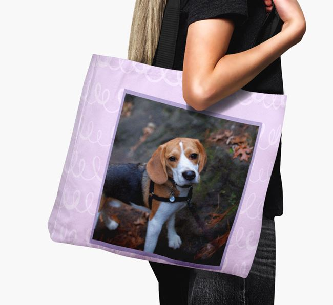Photo Upload Canvas Bag with Scribbles - Personalised for your Beagle