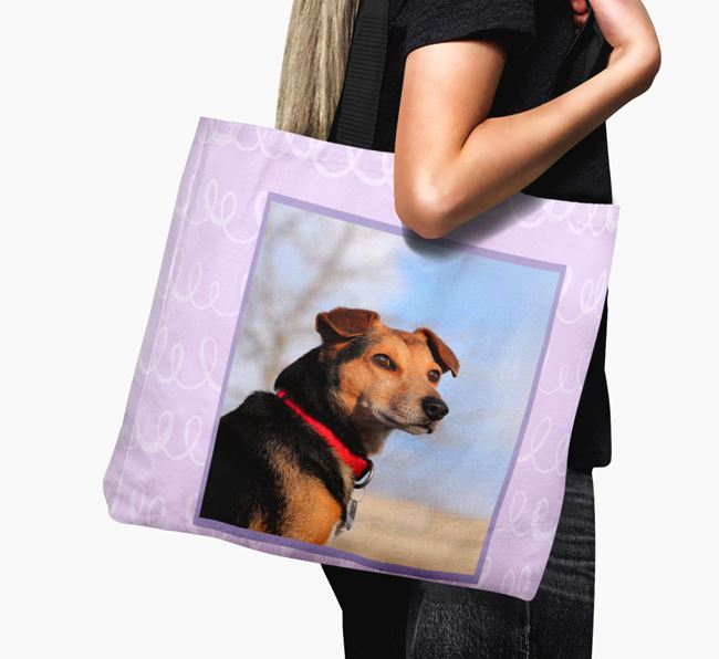 Photo Upload Canvas Bag with Scribbles - Personalised for your Bearded Collie