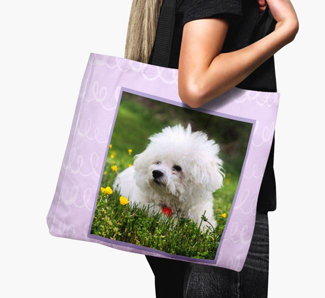 Photo Upload Canvas Bag with Scribbles - Personalised for your Bichon Frise