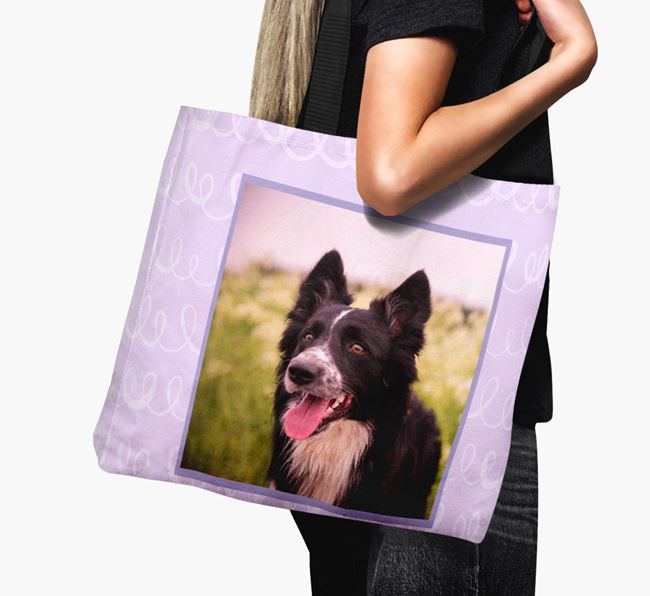 Photo Upload Canvas Bag with Scribbles - Personalised for your Border Collie