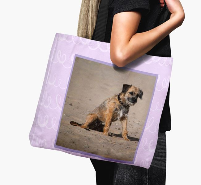 Photo Upload Canvas Bag with Scribbles - Personalised for your Border Terrier
