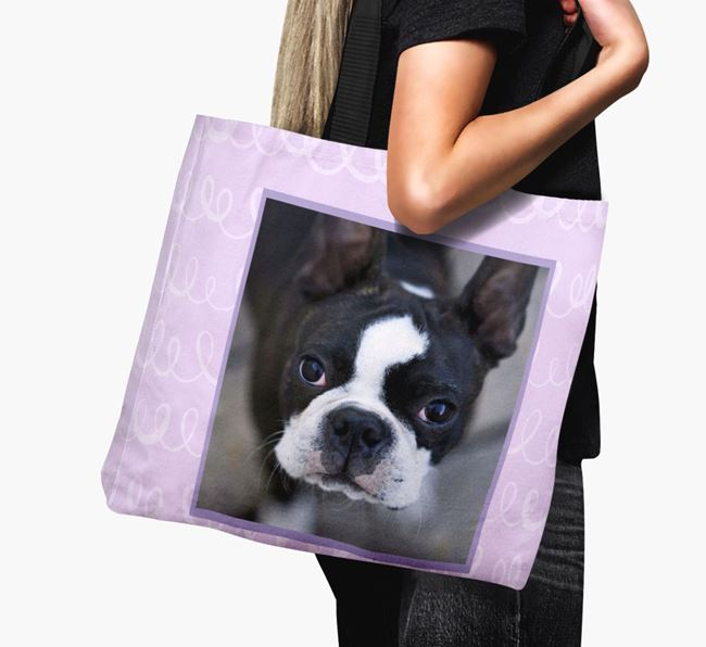 Photo Upload Canvas Bag with Scribbles - Personalised for your Boston Terrier