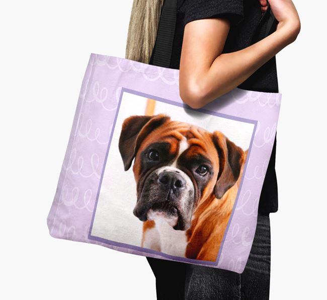 Photo Upload Canvas Bag with Scribbles - Personalised for your Boxer