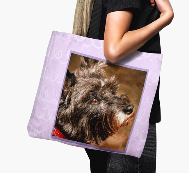 Photo Upload Canvas Bag with Scribbles - Personalised for your Cairn Terrier