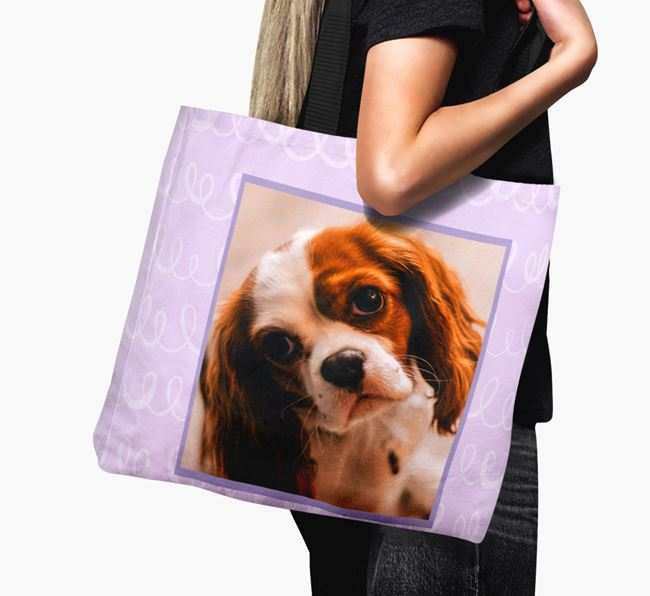 Photo Upload Canvas Bag with Scribbles - Personalised for your Cavalier King Charles Spaniel