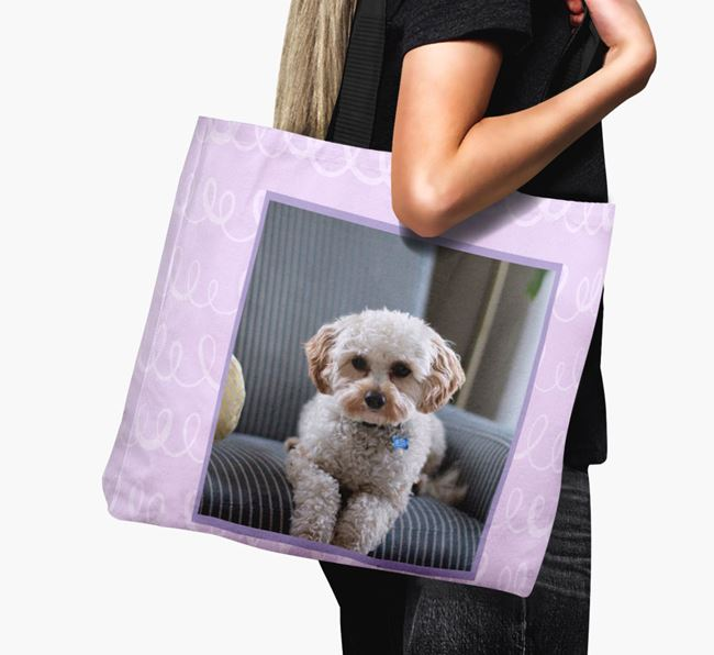 Photo Upload Canvas Bag with Scribbles - Personalised for your Cavapoo