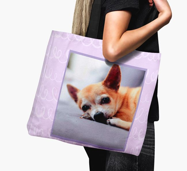 Photo Upload Canvas Bag with Scribbles - Personalised for your Chihuahua