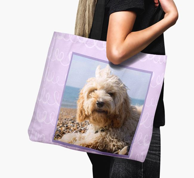 Photo Upload Canvas Bag with Scribbles - Personalised for your Cockapoo