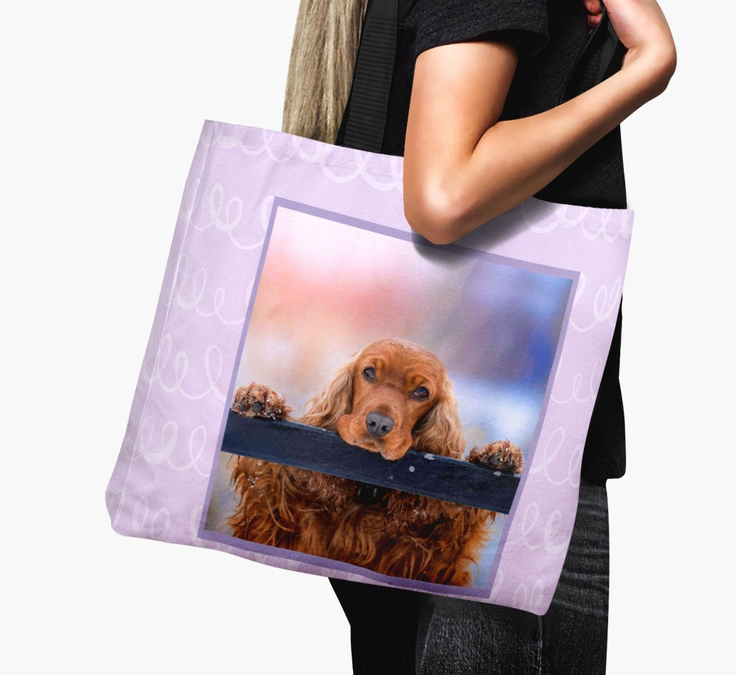 Woman holding Canvas Bag with photo of your Cocker Spaniel