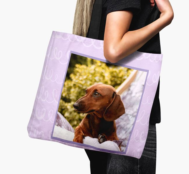 Photo Upload Canvas Bag with Scribbles - Personalised for your Dachshund