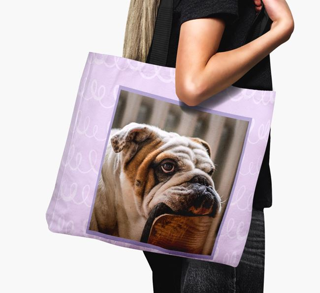 Photo Upload Canvas Bag with Scribbles - Personalized for your English Bulldog