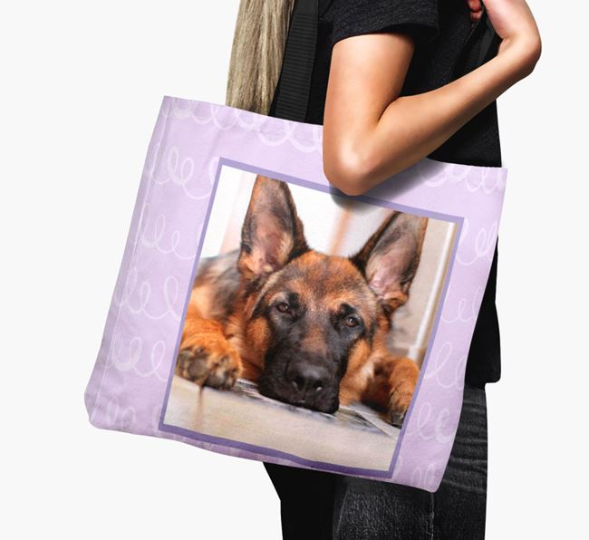 Photo Upload Canvas Bag with Scribbles - Personalised for your German Shepherd