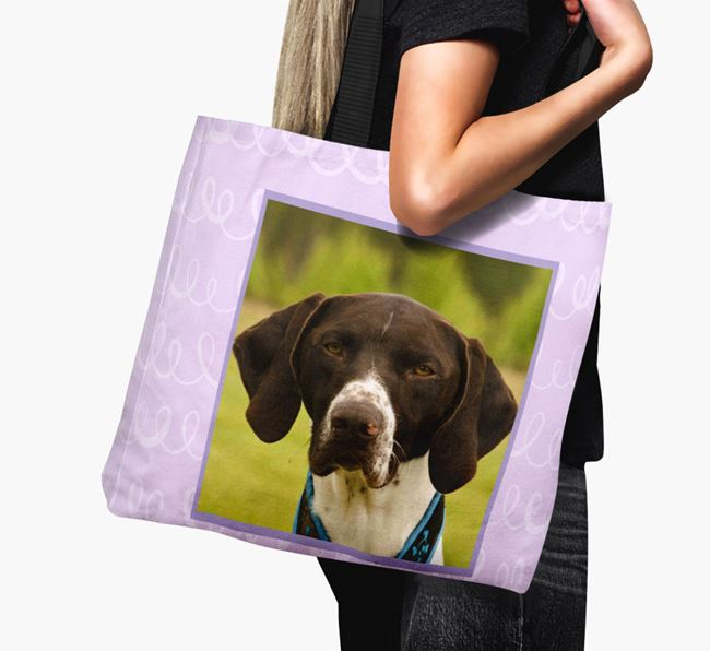 Photo Upload Canvas Bag with Scribbles - Personalised for your German Shorthaired Pointer