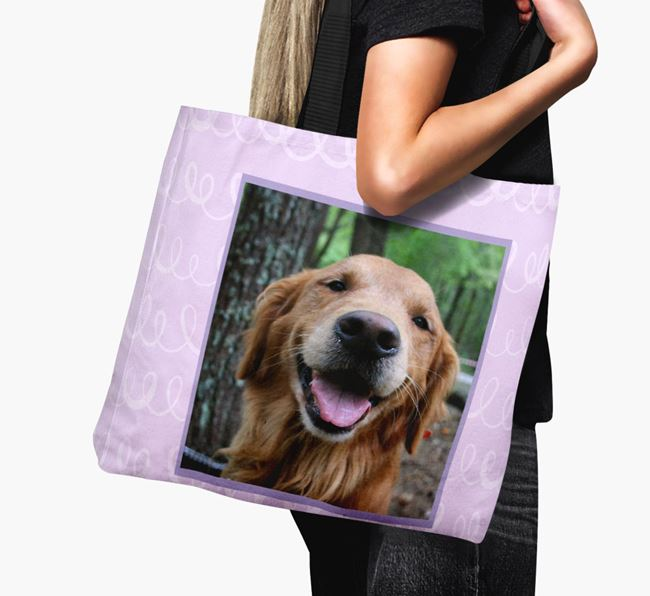 Photo Upload Canvas Bag with Scribbles - Personalized for your Golden Retriever