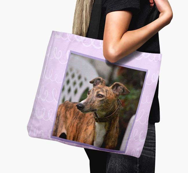 Photo Upload Canvas Bag with Scribbles - Personalised for your Greyhound