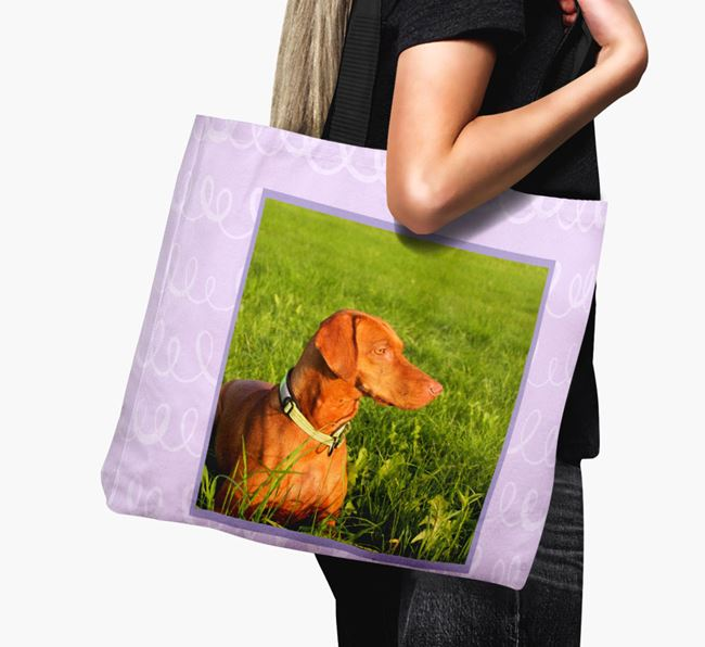 Photo Upload Canvas Bag with Scribbles - Personalised for your Hungarian Vizsla
