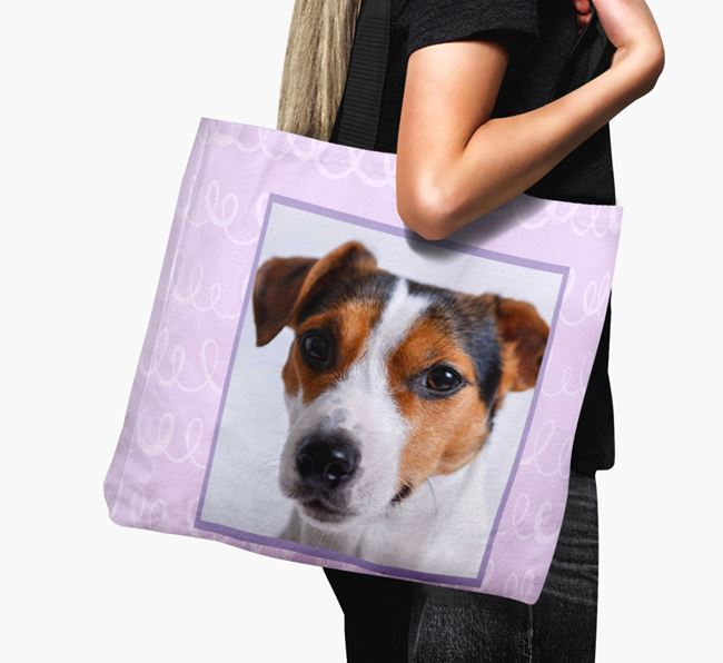 Photo Upload Canvas Bag with Scribbles - Personalised for your Jack Russell Terrier