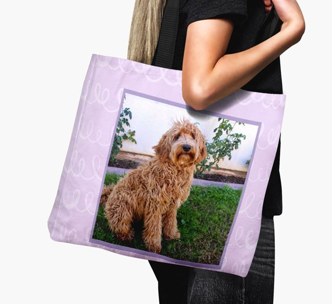 Photo Upload Canvas Bag with Scribbles - Personalised for your Labradoodle