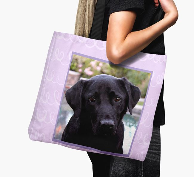 Photo Upload Canvas Bag with Scribbles - Personalised for your Labrador Retriever