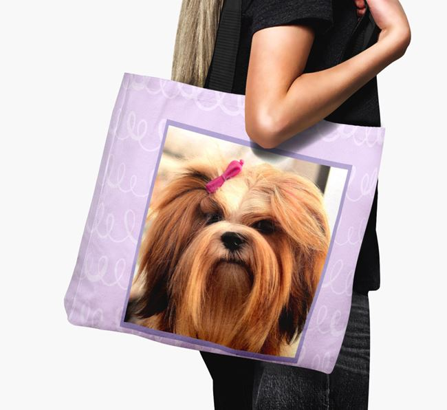Photo Upload Canvas Bag with Scribbles - Personalised for your Lhasa Apso