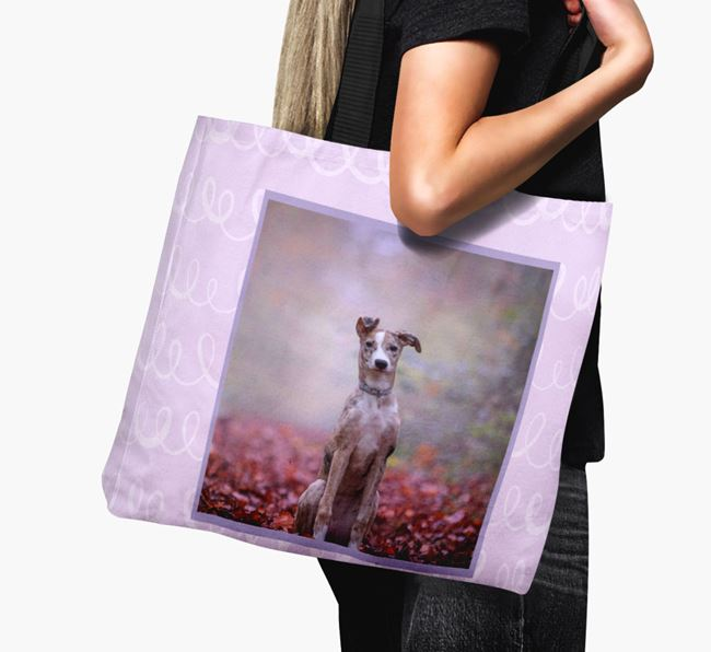 Photo Upload Canvas Bag with Scribbles - Personalised for your Lurcher