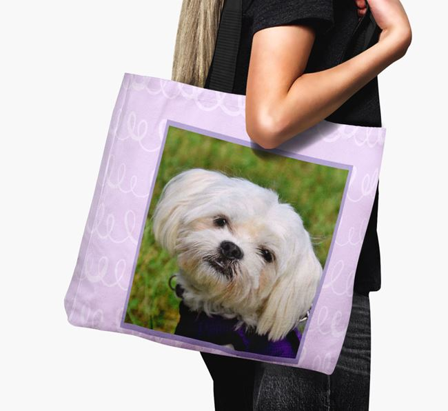 Photo Upload Canvas Bag with Scribbles - Personalised for your Maltese
