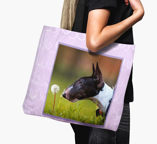 Photo Upload Canvas Bag with Scribbles - Personalised for your Miniature Bull Terrier