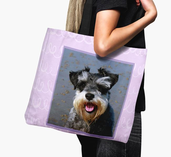 Photo Upload Canvas Bag with Scribbles - Personalised for your Miniature Schnauzer