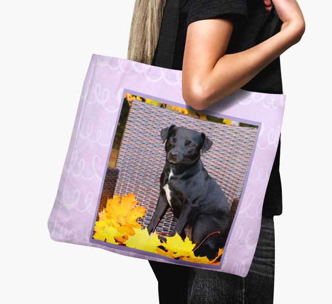 Photo Upload Canvas Bag with Scribbles - Personalised for your Patterdale Terrier