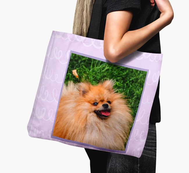 Photo Upload Canvas Bag with Scribbles - Personalised for your Pomeranian
