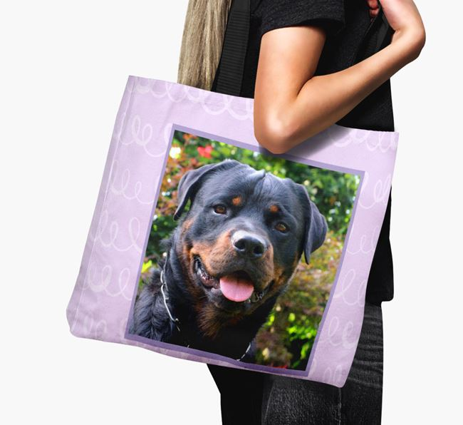 Photo Upload Canvas Bag with Scribbles - Personalised for your Rottweiler