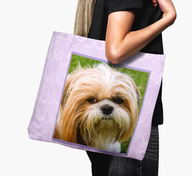 Photo Upload Canvas Bag with Scribbles - Personalised for your Shih Tzu