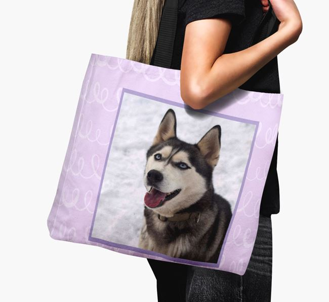 Photo Upload Canvas Bag with Scribbles - Personalised for your Siberian Husky