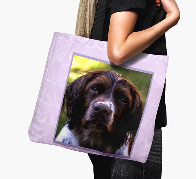 Photo Upload Canvas Bag with Scribbles - Personalised for your Springer Spaniel