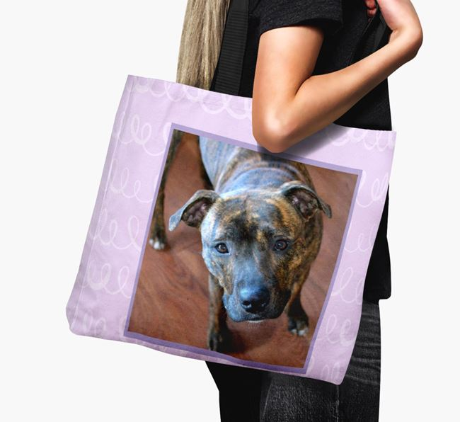 Photo Upload Canvas Bag with Scribbles - Personalised for your Staffordshire Bull Terrier