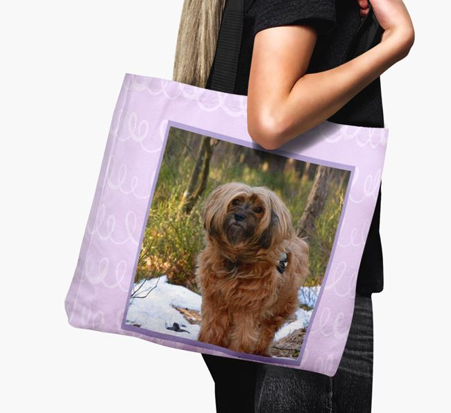 Photo Upload Canvas Bag with Scribbles - Personalised for your Tibetan Terrier
