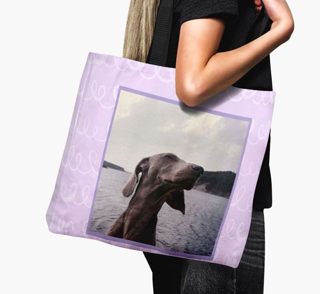 Photo Upload Canvas Bag with Scribbles - Personalised for your Weimaraner