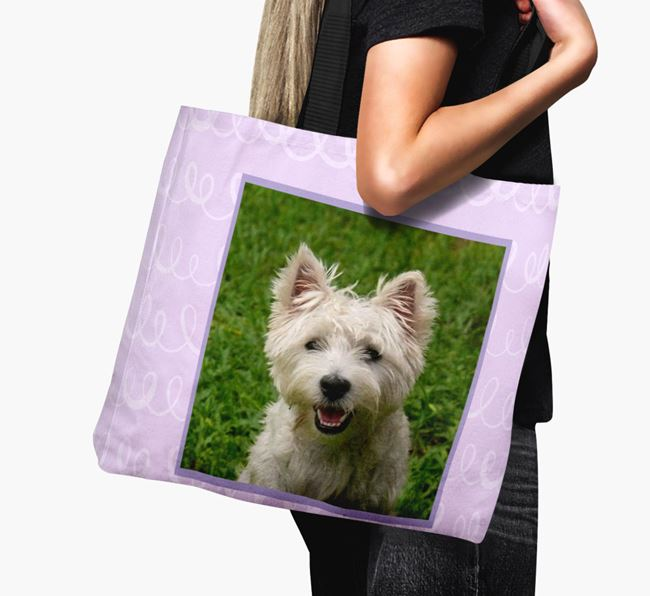 Photo Upload Canvas Bag with Scribbles - Personalised for your West Highland White Terrier