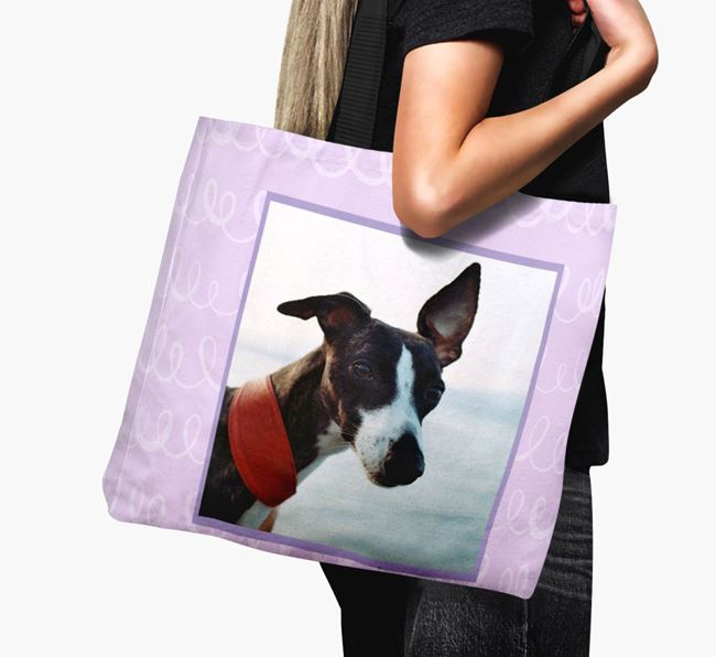 Photo Upload Canvas Bag with Scribbles - Personalised for your Whippet