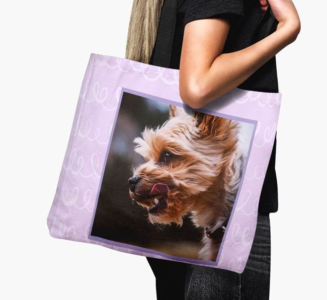 Photo Upload Canvas Bag with Scribbles - Personalised for your Yorkshire Terrier