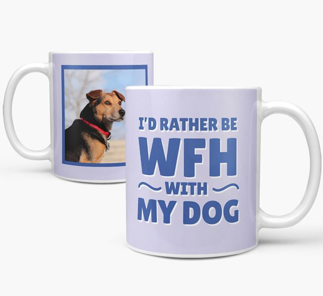 'I'd rather be WFH with my dog' Mug with Photo of your Flat-Coated Retriever