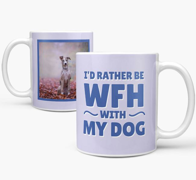 'I'd rather be WFH with my dog' Mug with Photo of your Lurcher