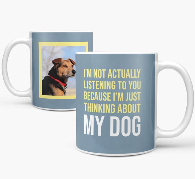 'I'm just thinking about my dog' Mug with Photo of your Jack-A-Poo
