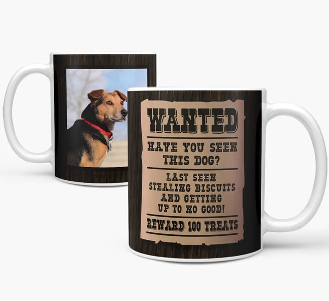 'Wanted Poster' Mug with Photo of your Dog