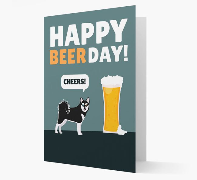 'Happy Beer Day' Card with Alaskan Klee Kai Icon