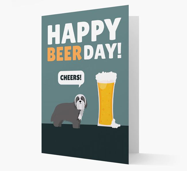 'Happy Beer Day' Card with Bearded Collie Icon