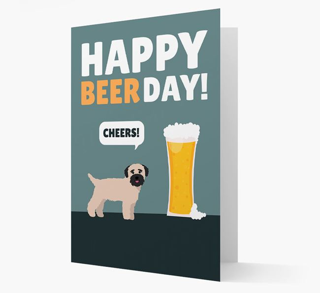 'Happy Beer Day' Card with Bichon Yorkie Icon