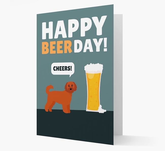 'Happy Beer Day' Card with Cavapoochon Icon