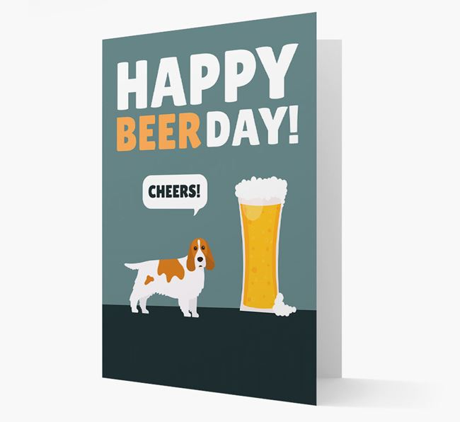 'Happy Beer Day' Card with Cocker Spaniel Icon