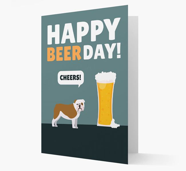 'Happy Beer Day' Card with English Bulldog Icon